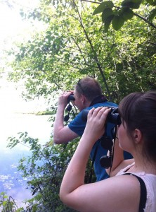 Stephanie Wilson and Alexander MacDonald specie watching at Mud Lake