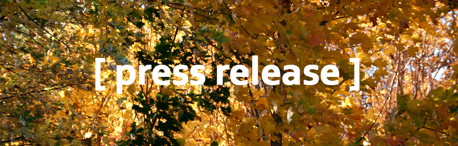 Image of fall leaves with text reading [press release]