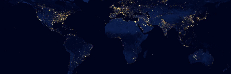 Image of map of the world at night