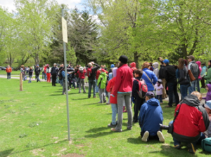 image of people lining up in a park