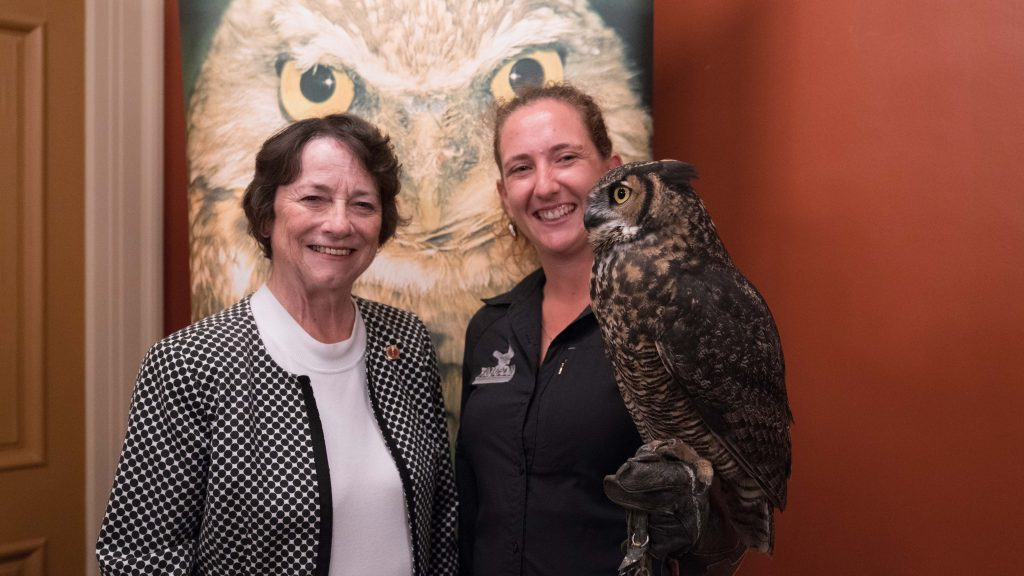 Senator Diane Griffin and the owl Celeste