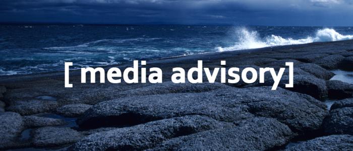 image of rocky coast with text 'media advisory'