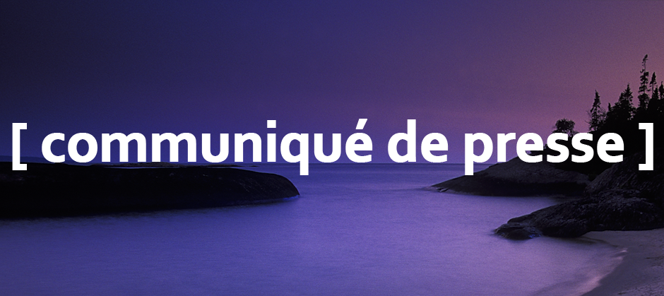 image of a purple sunset with the text communique de presse