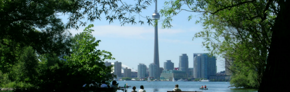 Image of Toronto Islands with Toronto cityscape in background