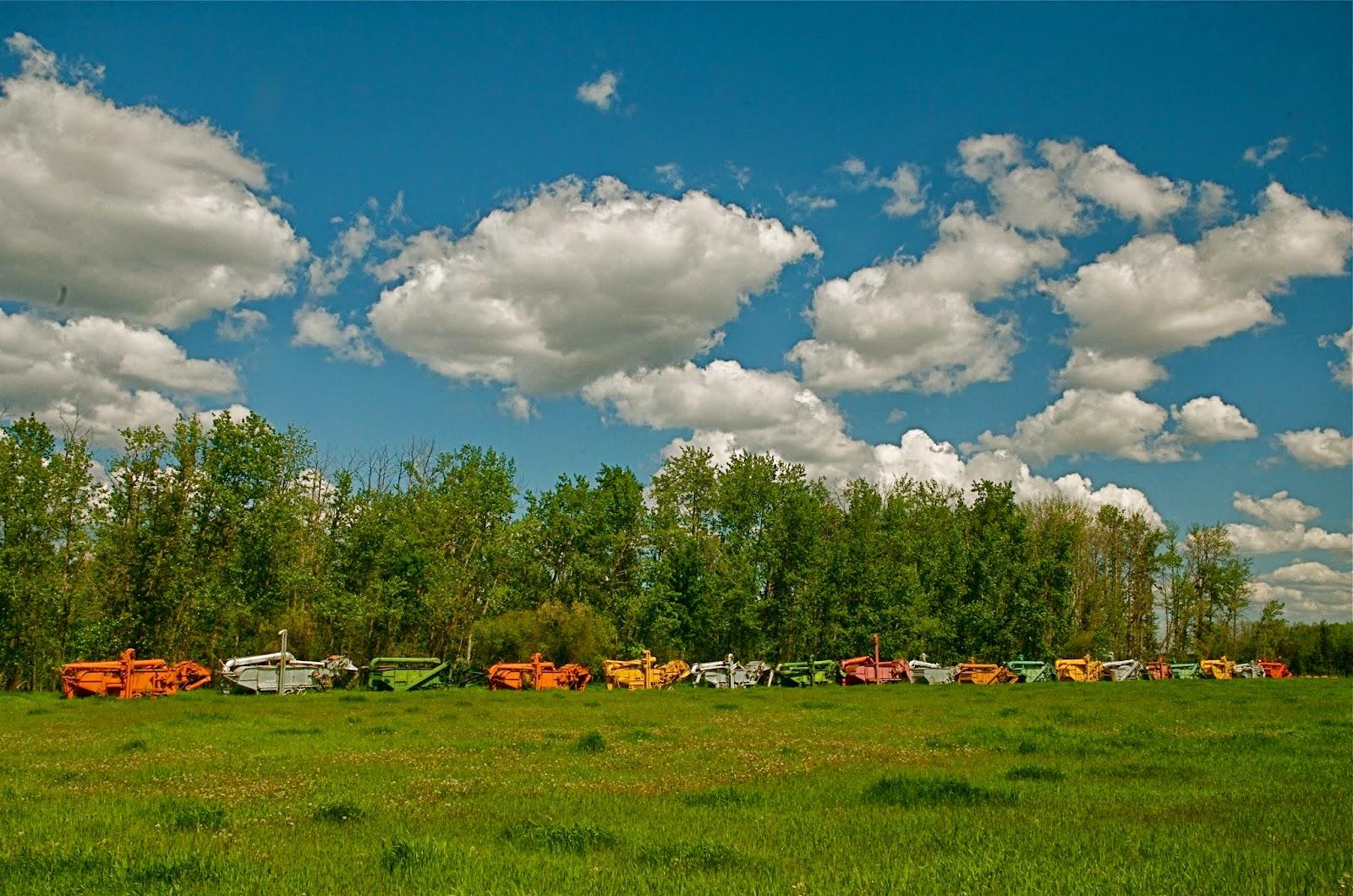 Threshing Machines Under Alberta Skies
