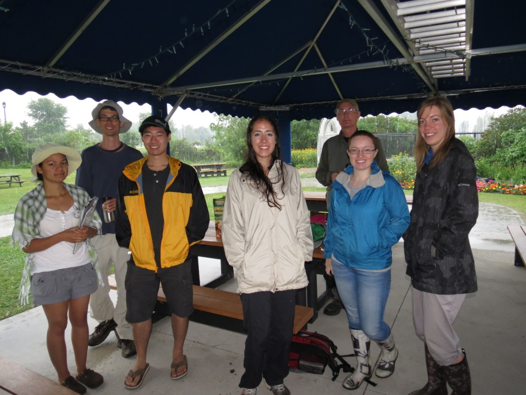 Waiting to begin our field work during a heavy downpour at the Nepean Sailing Club. (Photo by Ted Cheskey)