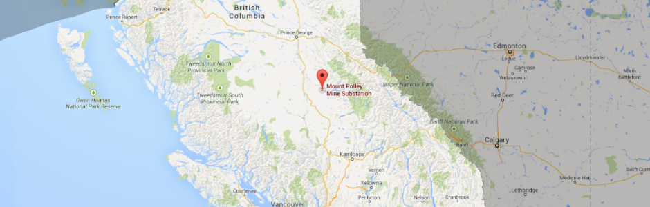 Map of British Columbia with site of tailings pond disaster indicated