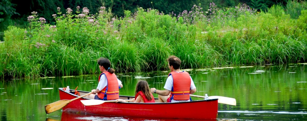 Image of family canoeing on a lake