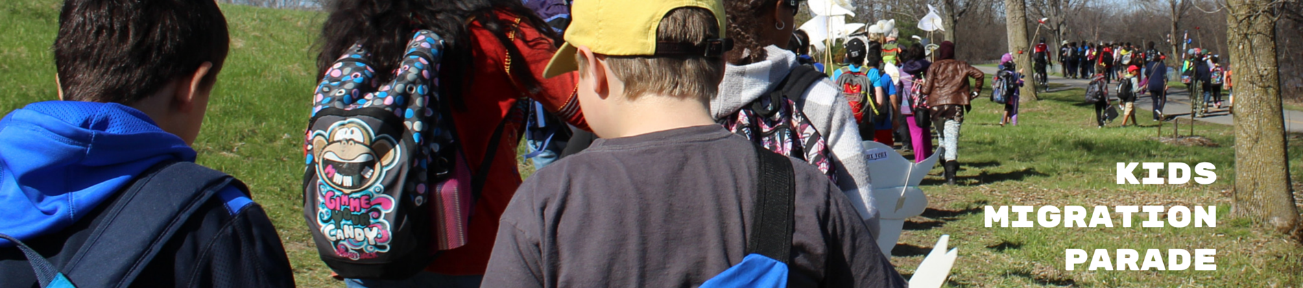 kids in migration parade