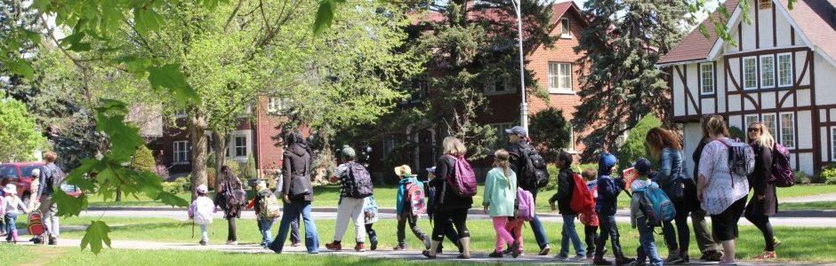 Children walking on a field trip