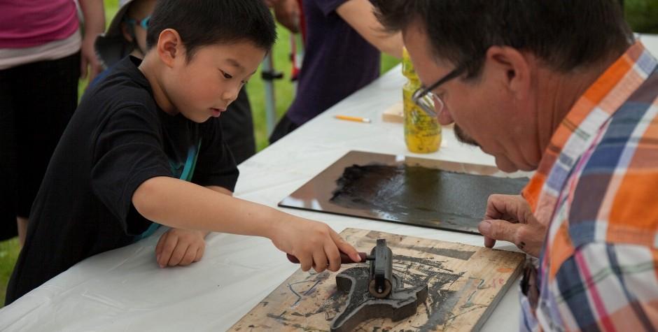 Print making activity at the Bird Day Fair 2015