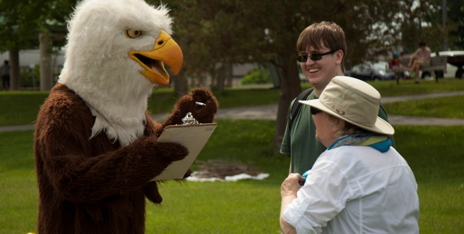 Eagle mascot at the Bird Day Fair 2015