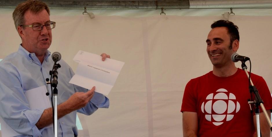 Mayor Waston and Giacomo Panico announce the Ottawa's Bird Contest winner