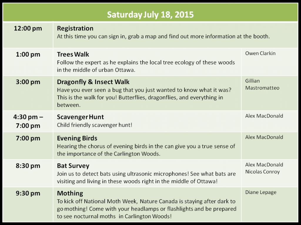 NatureBlitz Schedule for Saturday, July 18 2015