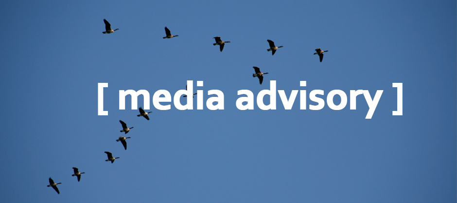 "Image of bird flying with text ""Media Advisory"""