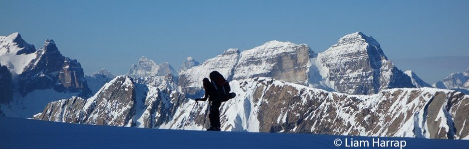 Image of skier looking into Yoho National Park