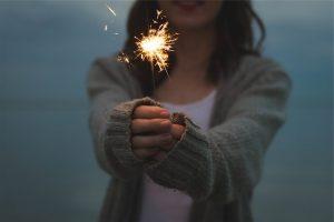 Image of girl holding a sparkler